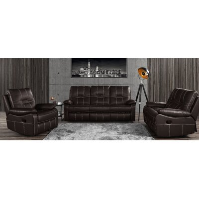 Mallon Reclining 3 Piece Leather Living Room Set Upholstery: Dark Brown