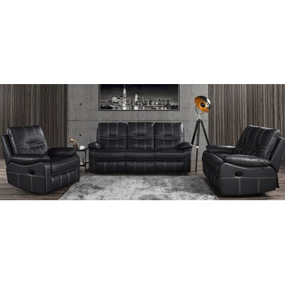 Mallon Reclining 3 Piece Leather Living Room Set Upholstery: Gray