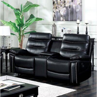 Mccurley Reclining Loveseat Finish: Black