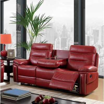 Mccurley Reclining Sofa Finish: Red