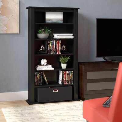 Regular Single Multimedia Storage Rack Color: Black