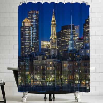 Melanie Viola Boston Evening Skyline of North End and Financial District Shower Curtain