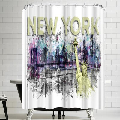 Melanie Viola Modern Art New York City Skyline Shower Curtain Color: White/Gray/Banana Mania/Yellow