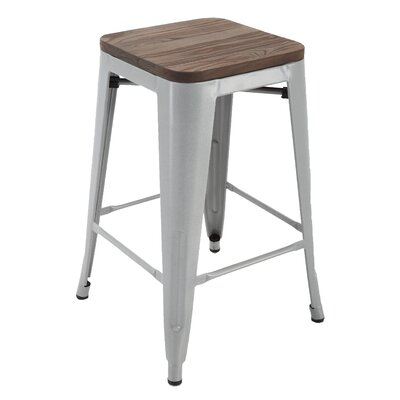 Hoeft 24 Bar Stool Frame color: Silver