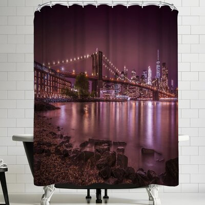 Melanie Viola New York City Nightly Stroll Along the River Bank Shower Curtain
