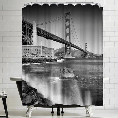 Melanie Viola Golden Gate Bridge with Breakers Shower Curtain