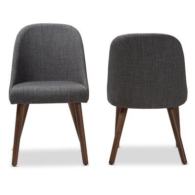 Croom Mid-Century Upholstered Dining Chair (Set of 2) Upholstery Color: Dark Gray