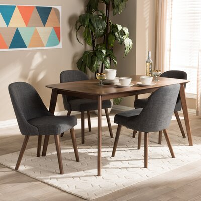 Croom Mid-Century 5 Piece Dining Set Chair Color: Dark Gray