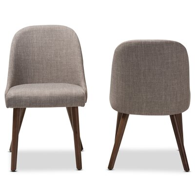 Croom Mid-Century Upholstered Dining Chair (Set of 2) Upholstery Color: Light Gray
