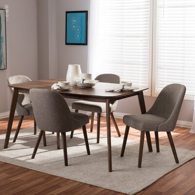 Croom Mid-Century 5 Piece Dining Set Chair Color: Light Gray