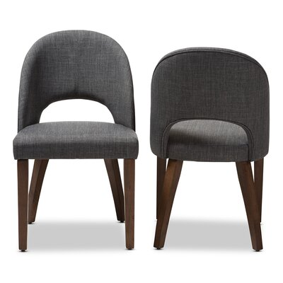 Cropper Mid-Century Upholstered Dining Chair (Set of 2) Upholstery Color: Dark Gray