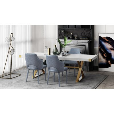Hollaway 5 Piece Dining Set Chair Color: Smokey Gray