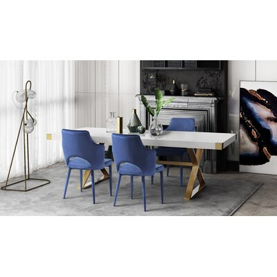 Hollaway 5 Piece Dining Set Chair Color: Navy