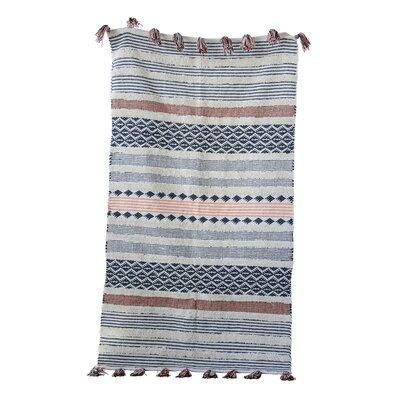 Nazzaro Woven 100% Cotton Gray/Pink Area Rug