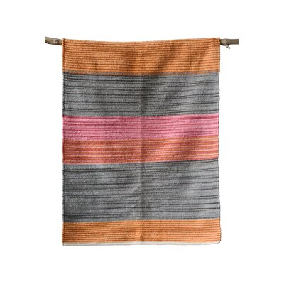 Fenske Striped Cotton Orange/Gray/Pink Area Rug