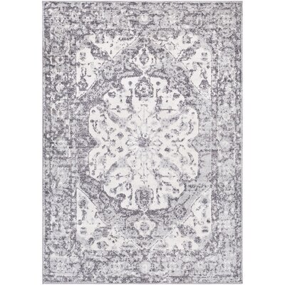 Ramiro Distressed Vintage Medium Gray/White Area Rug Rug Size: Rectangle 53 x 76