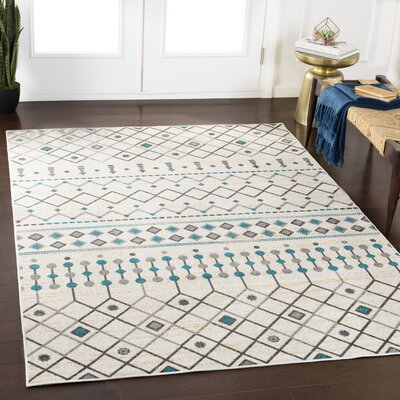 Ramm Cyan/Light Gray Area Rug Rug Size: Rectangle 2 x 3