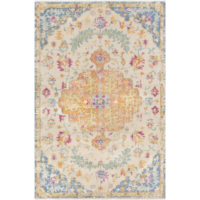 Ramsdell Vintage Hand-Knotted Wool Burnt Orange/Baby Blue Area Rug Rug Size: Rectangle 6 x 9