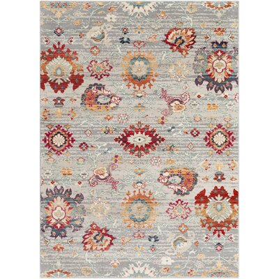 Raminez Distressed Floral Gray/Teal Rug Rug Size: Rectangle 2 x 3