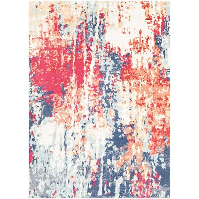 Raminez Abstract Navy/Red Area Rug Rug Size: Rectangle 53 x 76