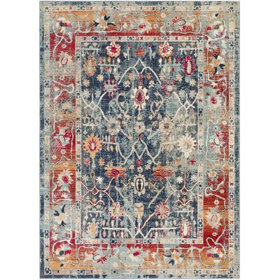 Raminez Distressed Floral Navy/Saffron Area Rug Rug Size: Rectangle 9 x 131