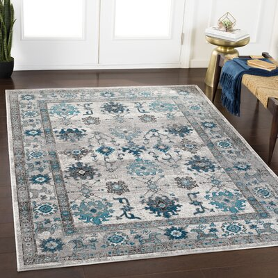 Gerber Distressed Taupe/Cyan Area Rug Rug Size: Rectangle 53 x 76