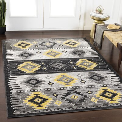 Thornley Charcoal/Gray Area Rug Rug Size: Rectangle 53 x 76