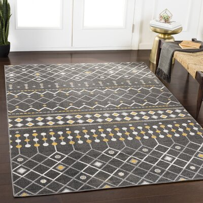 Ramm Gray/Yellow Area Rug Rug Size: Rectangle 53 x 76