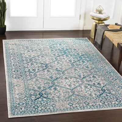 Ramm Floral Cyan/Taupe Area Rug Rug Size: Rectangle 53 x 76