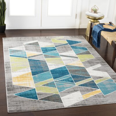 Kamena Geometric Teal/Grass Green Area Rug Rug Size: Rectangle 53 x 76