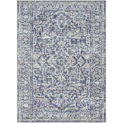 Ranck Distressed Navy/Baby Blue Area Rug Rug Size: Rectangle 53 x 73