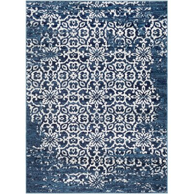 Ranck Distressed Navy/Cyan Area Rug Rug Size: Rectangle 710 x 103