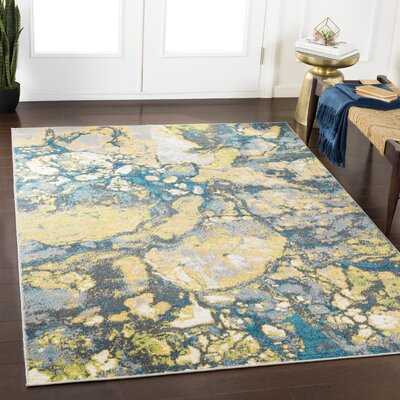 Ramm Abstract Lime/Cyan Area Rug Rug Size: Rectangle 2 x 3