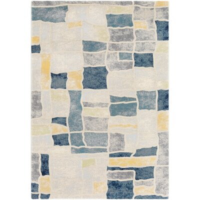 Oakdene Distressed Abstract Navy/Gray Area Rug Rug Size: Rectangle 53 x 76