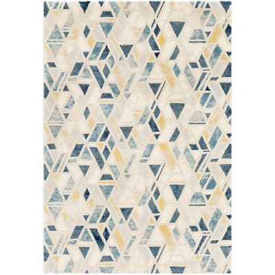 Oakdene Distressed Geometric Cyan/Yellow Area Rug Rug Size: Rectangle 53 x 76