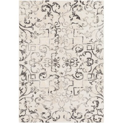 Rameriz Distressed Charcoal/Butter Area Rug Rug Size: Rectangle 53 x 76