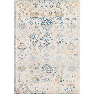 Rameriz Distressed Floral Teal/Butter Area Rug Rug Size: Rectangle 53 x 76