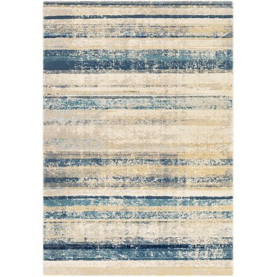 Oakdene Distressed Striped Navy/Taupe Area Rug Rug Size: Rectangle 53 x 76