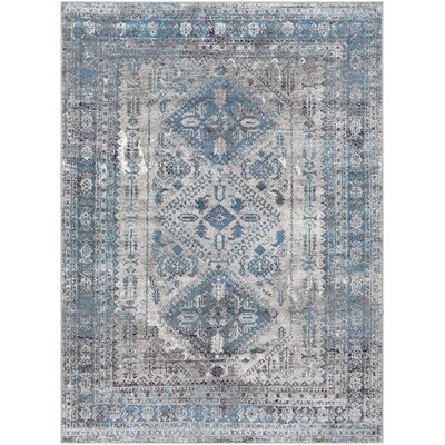 Ranck Distressed Vintage Sky Blue/Gray Area Rug Rug Size: Rectangle 53 x 73