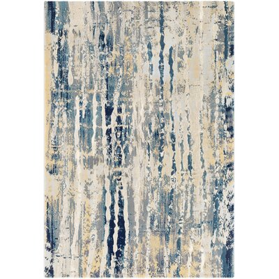 Oakdene Abstract Aqua/Butter Area Rug Rug Size: Rectangle 53 x 76