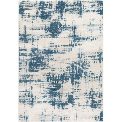 Hegarty Abstract Teal/Ivory Area Rug Rug Size: Rectangle 53 x 76