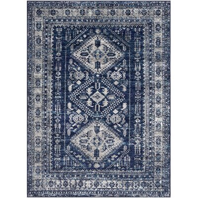 Ranck Distressed Vintage Navy/Cyan Area Rug Rug Size: Rectangle 710 x 103