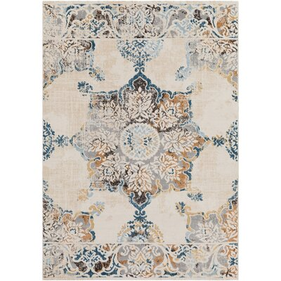 Rameriz Distressed Floral Navy/Taupe Area Rug Rug Size: Rectangle 53 x 76