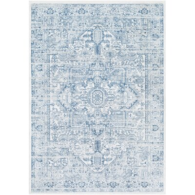 Randazzo Vintage Distressed Sky Blue/Ivory Area Rug Rug Size: Rectangle 52 x 76