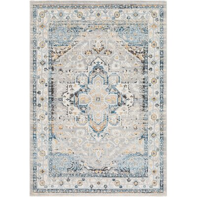 Rameriz Vintage Distressed Light Gray/Baby Blue Area Rug Rug Size: Rectangle 2 x 3