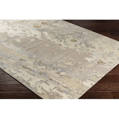 Randall Abstract Hand-Hooked Wool Taupe/Light Blue Area Rug Rug Size: Rectangle 5 x 76
