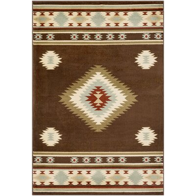 Thornton Dark Brown/Baby Blue Area Rug Rug Size: Rectangle 53 x 76