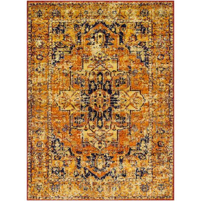 Ranck Distressed Vintage Bright Orange/Bright Yellow Area Rug Rug Size: Rectangle 53 x 73
