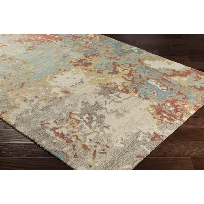 Randall Abstract Hand-Hooked Wool Pale Blue/Gray Area Rug Rug Size: Rectangle 2 x 3
