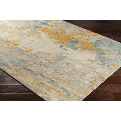 Randall Abstract Hand-Hooked Wool Saffron/Cyan Area Rug Rug Size: Rectangle 5 x 76